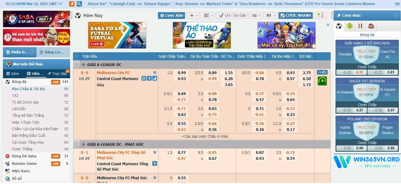 Cá cược thể thao Win365