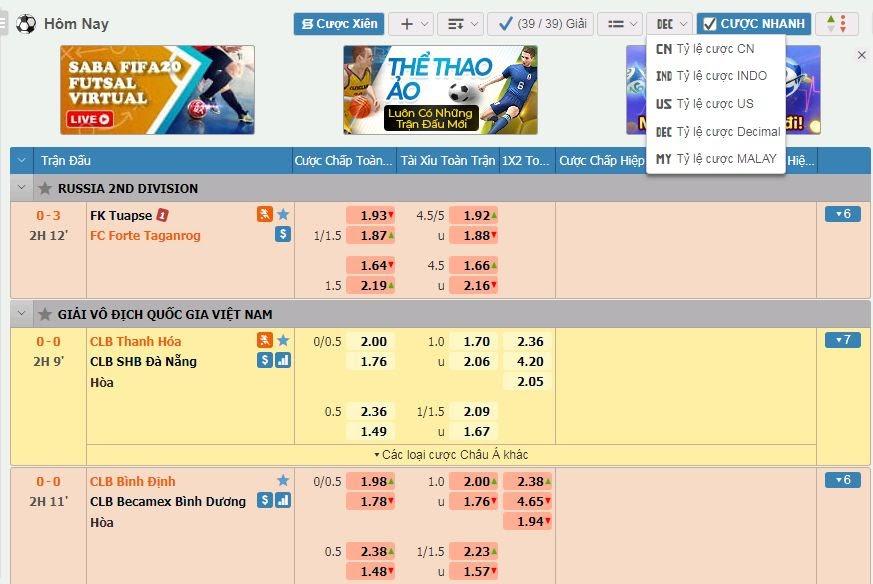 Luật chơi cá cược thể thao Win365bet
