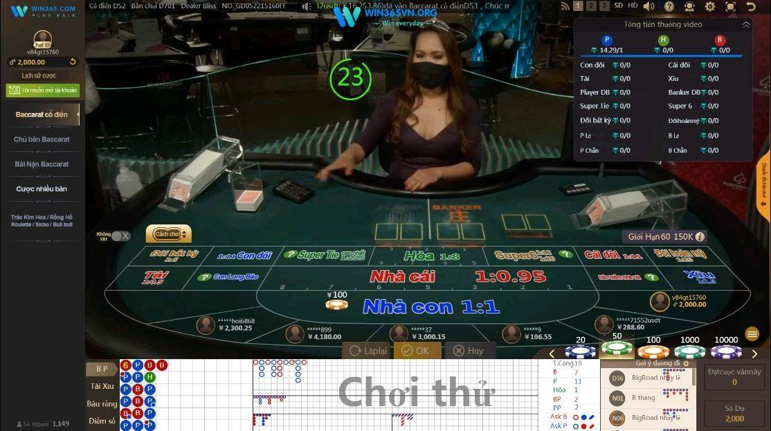 Giao diện Baccarat tại game win365