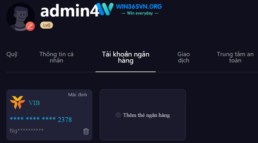 Rút tiền tại Win365